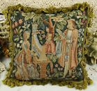 """18"""" Vintage Chic Charm Gobelin Tapestry Needlepoint Pillow French Aubusson Style"""