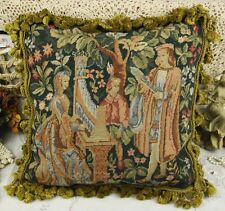"18"" Vintage Chic Charm Gobelin Tapestry Needlepoint Pillow French Aubusson Style"