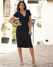WOMENS JOANNA HOPE NAVY BLUE GOLD BUCKLE TRIM MOCK WRAP DRESS PLUS SIZE UK 28