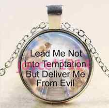 Lords Prayer Stairway to Heaven silver Glass Chain Pendant Necklace ^XP-1489
