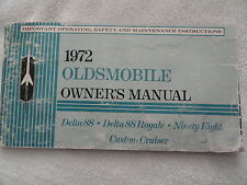 1972 Oldsmobile Delta 88 98 Owners Manual Ninety Eight Eighty Custom Cruiser