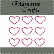 9 Hot Pink Diamante Hearts  Self Adhesive Rhinestone Craft Embellishment Gems