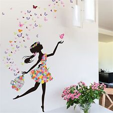 Magic Fairy Dancing In Flower Release Butterfly Wall Sticker For Girls' Decorati