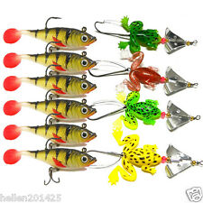 Lot 10pcs Rubber Frog Soft Tiddler Silica Lead Fishing Lures Baits Tackle Hooks