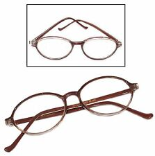 Aggie Classic Vintage Style Reading Glasses Polished Oval Brown Frame +3.25 Lens