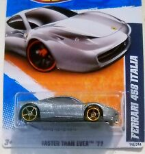 2011 Hot Wheels #146 FASTER THAN EVER * FERRARI 458 ITALIA * FTE SILVER