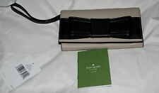 KATE SPADE ORIGINAL wallet/clutch tan w /black bow maram Villablella, new