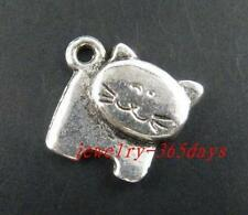 60pcs Tibetan Silver Lovely Cat Charms Pendants 18x19mm 10175