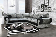 Tango Large Fabric Corner Sofa in Luxury Black & Silver Crushed Velvet Material
