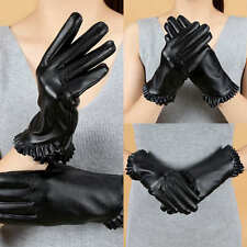 New Womens Gloves Touch Screen Leather Gloves Winter Warm Gloves Mittens Black