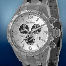 Omikron Mens Swiss Falcon Sport Chronograph  Silver Dial Black MOP Sub Dials