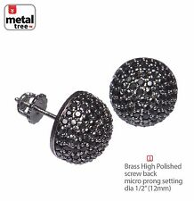 Berry Round Dome Earring AAA Black CZ Hand Setting Screw Back 945 3T