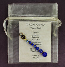 THROAT CHAKRA CHARM Amulet Talisman Symbol Sign Blue Catseye Description Card