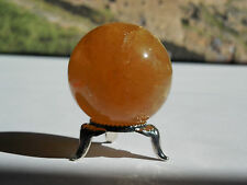 37mm POLISHED NATURAL ORANGE CALCITE CRYSTAL SPHERE CHINA - 97.1g;ORGONE #1