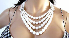 NEW VINTAGE R.J. GRAZIANO MILK WHITE FACETED GLASS BEADS 4 STRANDS NECKLACE