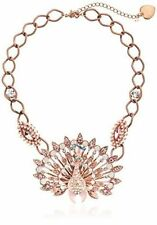 BETSEY JOHNSON 'Pinktina' Pink Patina Peacock Crystal Accent Statement Necklace