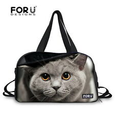 For U Designs Women Gray Animal Cat Travel Bag Gym Sport Handbag Outdoor