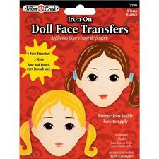 Fibre Craft Iron-On Embroidered Doll Face Transfers - 402704
