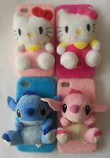 New 3D Cute Hello Kitty and Stitch Plush Toy Hard Cover Case for iPhone 4- 4S
