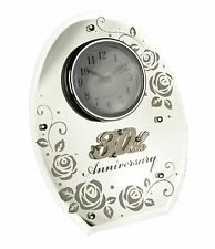 PEARL WEDDING ANNIVERSARY GIFT OVAL MIRROR 30TH CLOCK 17851