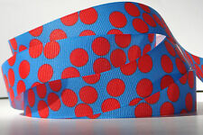 "Red Polka Dots on Bright Blue 7/8"" grosgrain ribbon 4 yards crafts hair bows"