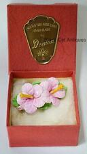 Lovely Denton English Bone China Pink Flowers Brooch/Pin With Original Box