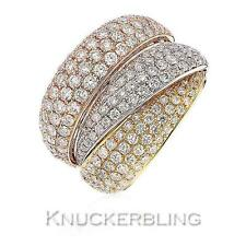 2.80ct F vs Banda Diamante Pave 3-Tone 18ct Oro Grueso Anillo de boda 16mm Ancho