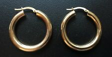 14K Yellow Gold Hoop Earrings Wide Tube 3.5g Italy GCJ George Carter Jessop