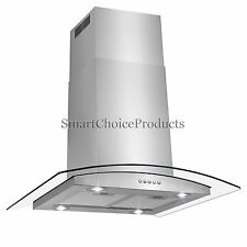 """Kitchen 30"""" Glass Island Canapy Stainless Steel Ductless Range Hood Stove Vents"""
