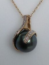 New 14K Yellow Gold Tahitian Gray Pearl and Diamond Wrap Pendant with Chain