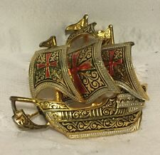 Damascene Spanish Galleion Sail Ship Costume Brooch Pin Made in Spain Gold Tone