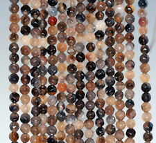 4MM  AGATE GEMSTONE BROWN FACETED ROUND LOOSE BEADS 15""