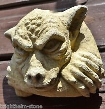"GARGOYLE FACE WALL PLAQUE GARDEN ORNAMENT frost proof stone 13cm/5"" H GOTHIC"