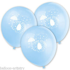 """8 Blue Boy's CUTE ELEPHANT Baby Shower Party 12"""" Printed Latex Balloons"""