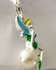 TINKERBELL SITTING ON A PEARL CLIP ON CHARM FOR BRACELET - SILVER PLATE - NEW