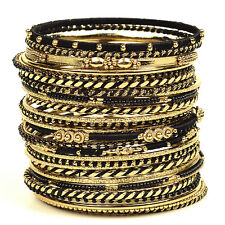 NWT Amrita Singh Athena Gold Tone Black Silk Bangle Bracelet Set BBAS 231
