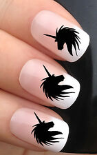 NAIL ART SET #385. x24 UNICORN HEAD SILHOUETTE WATER TRANSFER DECALS STICKERS