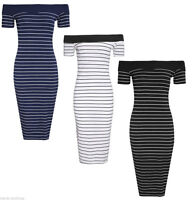Womens Ladies Bardot Off Shoulder Striped Print Bodycon Midi Party Dress UK 8-14