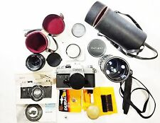 HUGE CANON LOT FTb QL 35mm Film SLR Chrome Camera + Tripod, Lenses & Accessories