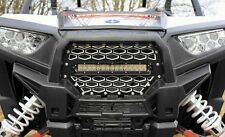 MODQUAD 2-PANEL FRONT GRILL BLACK/SILVER W/10 LIGHT BAR PART# RZR-FGLS-1K-BLK NE
