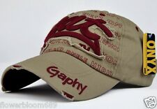 Unisex baseball cap visor cap Beige + dark red word sun hat&