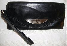 High Quality Black Leather Kenneth Cole REACTION Wristlet Clutch Wallet