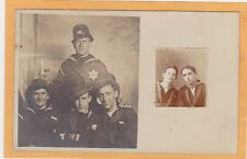 Studio Real Photo Postcard RPPC  Four Sailors One as Policeman & Photo Booth Pic