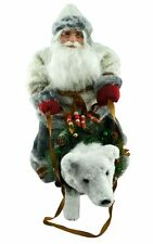 Move Music Santa Claus Doll Gift Xmas Decor Bear Fiber Optic Handmade Collect
