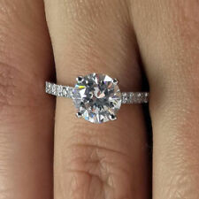 1.40 Round Cut Beautiful Diamond Engagement Ring VVS1/D 14K White Gold Rings