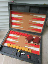 "Marbleized Bakelite Backgammon Set 1-1/2"" Pieces Red Butterscotch Doubling Cube"