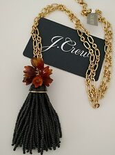 NWT J CREW ENAMEL TASSEL PENDANT GOLD PLATING BLACK NECKLACE With Bag