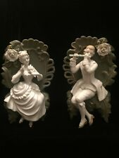 2 Green White BISQUE PORCELAIN Jasperware HIGH RELIEF FIGURES Wall Plaques Vases