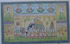 01 An old look miniature paper painting of ROYAL PROCESSION PERSIAN MUGHAL STYLE