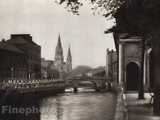 1926 Vintage CATHEDRAL ST. MARY Cork Ireland Waterfront Photo Art By E.O. HOPPE